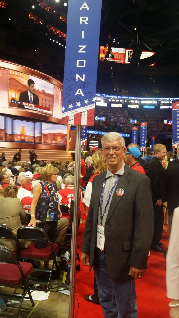 Chairman Morris on the convention floor with the Arizona delegation shortly after Donald Trump was officially nominated as the Republican candidate for President